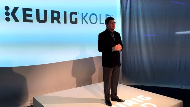 Keurig Green Mountain CEO Brian Kelley announces the launch of Keurig Kold in New York City in 2015.