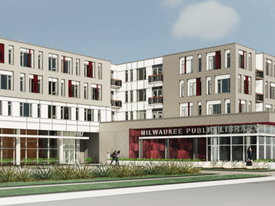 A four-story development would feature a new library