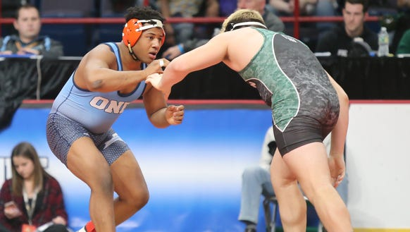 East Ramapo's Jhordyn Innocent wrestles in the 195-pound