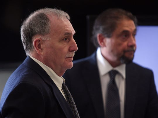 Anthony Novellino, l, and defense attorney Michael