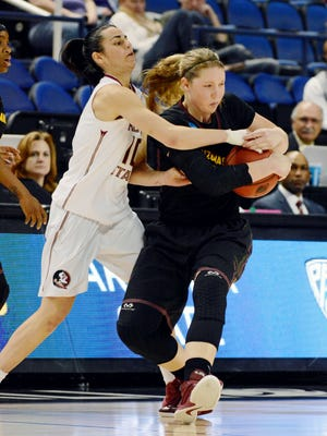 ASU forward Kelsey Moos, right, will return this weekend after missing four games due to a head injury.