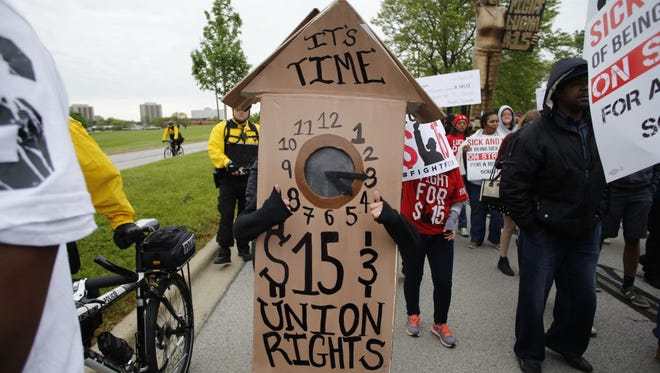 A demonstration in Oak Brook, Ill., on May 21, 2015.