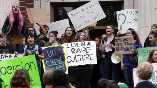 University of Oregon students and staff protest sexual violence in Eugene in 2014.