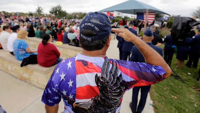 Veterans Day observance in San Antonio, Texas, on Nov. 11, 2015.