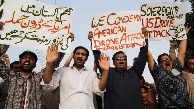Protesters in Pakistan on May 23, 2016.