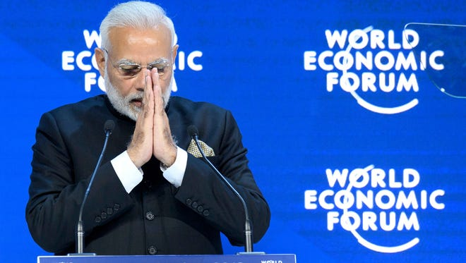 Indian Prime Minister Narendra Modi speaks during a plenary session in the Congress Hall the opening day of the 48th Annual Meeting of the World Economic Forum, in Davos, Switzerland, on Jan. 23.