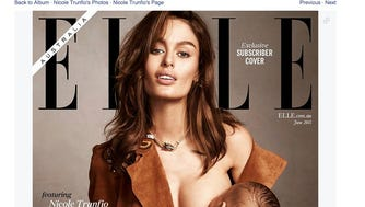 Model Nicole Trunfio on the cover of 'Elle' Australia.