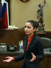 Incarnate Word Academy student Sofia Aguirre makes opening remarks during the Region 2 high school mock trial competition Saturday, Feb. 4, 2017, at the Nueces County Courthouse.