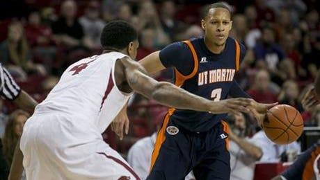 Terence Smith plays for UT-Martin against Arkansas in 2013.
