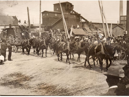 The Buffalo Bill parade weaved its way through Manitowoc on its way to the Fair Grounds leading up to the group's show in Manitowoc in August 1900.