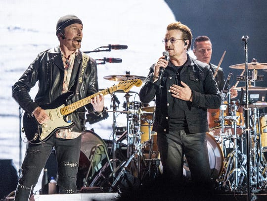 The Edge, left, and Bono of U2 will perform at Ford