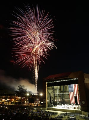 Fourth of July celebrants enjoy the fireworks show from inside the Tuscaloosa Amphitheater Thursday, July 4, 2019. Due to the ongoing coronavirus pandemic, the fireworks display will not be held at the Amphitheater this year, but should be visible from numerous points around the city. A musical soundtrack will accompany the 20-minute show, broadcast on Townsquare Media FM radio stations.