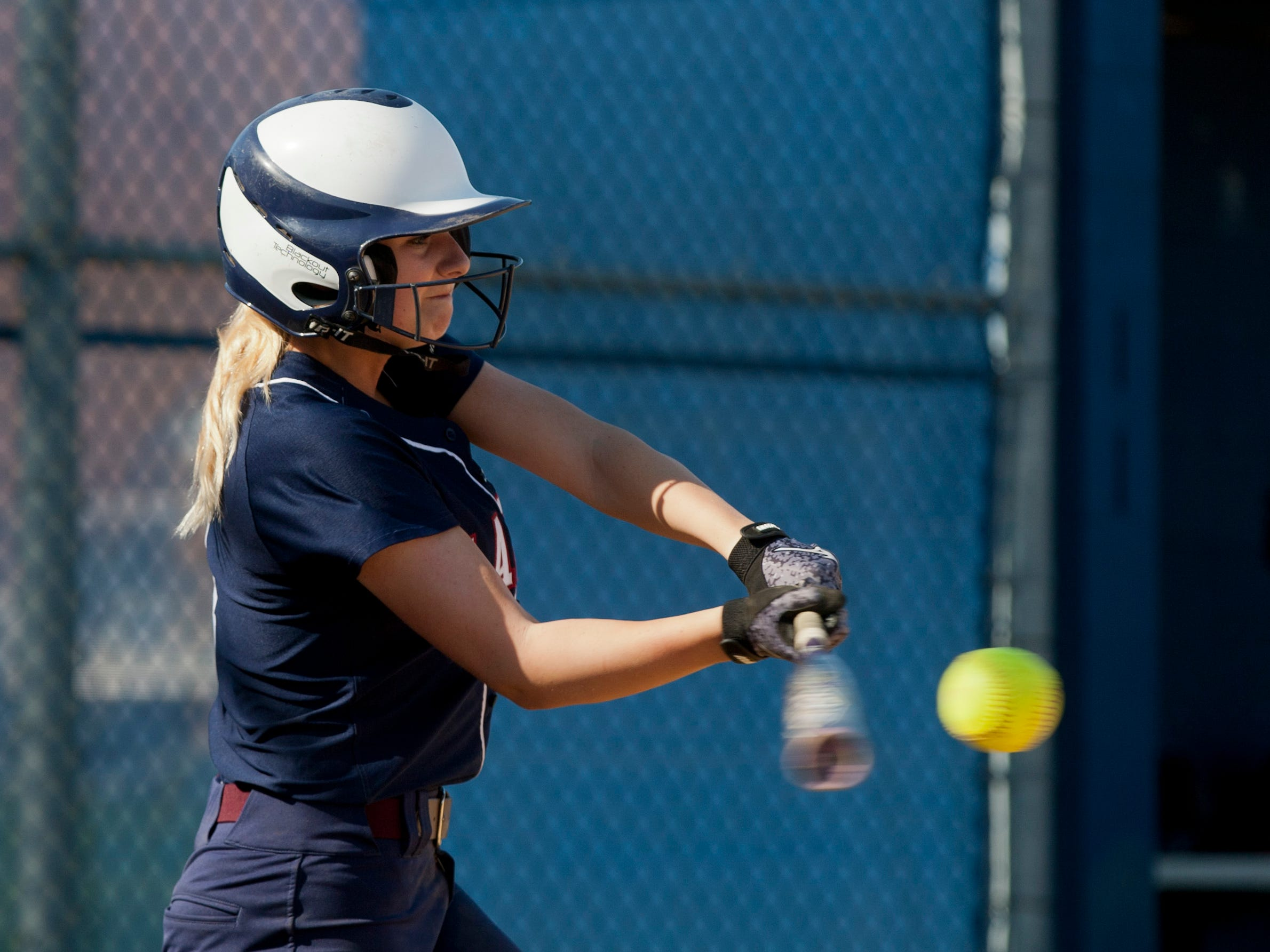 Lacey's Kayla Kohout hits a triple in the second inning to put her team up 3-2. Toms River North Girls Softball vs Lacey in Lacey, NJ on May 7, 2015. Peter Ackerman/Staff Photographer