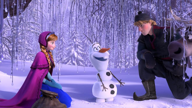 """Anna, voiced by Kristen Bell, Olaf, voiced by Josh Gad, and Kristoff, voiced by Jonathan Groff,  from """"Frozen,"""" will be back."""