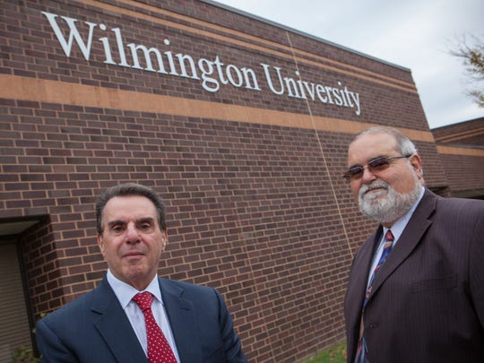 Jack Varsalona, president of Wilmington University, with Vernon Green, chief operating office of Woodlawn Trustees, are shown on Oct. 30, 2014, when they announced plans for a campus in Brandywine Hundred. The project is being developed on U.S. 202.