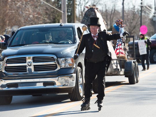 Jack Schreppler, grand marshal for life, leads the