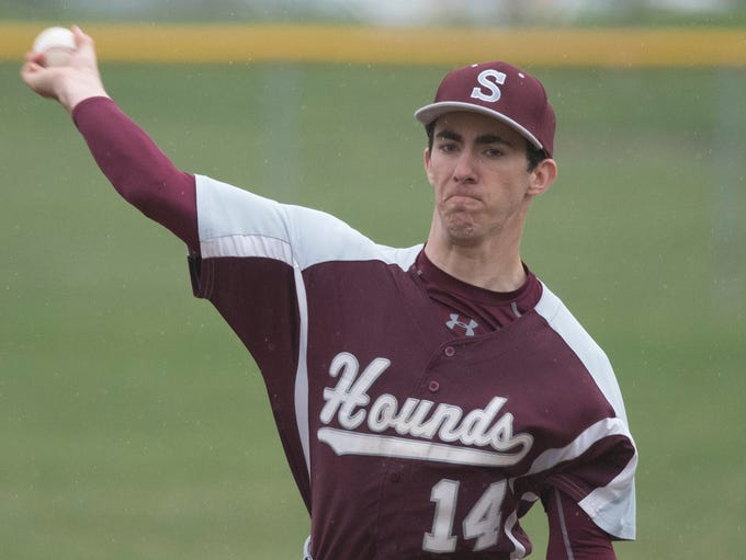 Shippensburg's Chandler Durf pitches for the Greyhounds.