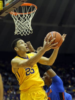 LSU forward Ben Simmons (25) attempts a shot against Florida at the Pete Maravich Assembly Center.