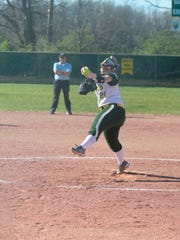 Madison Kinder throws a pitch against Winchester during