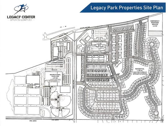 A Legacy Park properties site plan shows the athletic