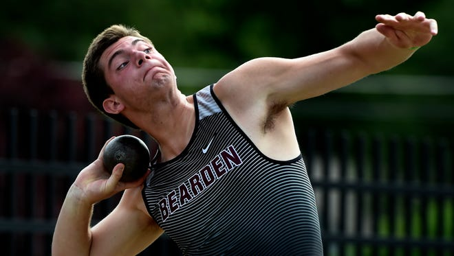 Joshua Sobota of Bearden High School competes in the Class AAA shot put event during the State Track and Field Championships at Middle Tennessee State University Friday, May 26, 2017, in Murfreesboro, Tenn.