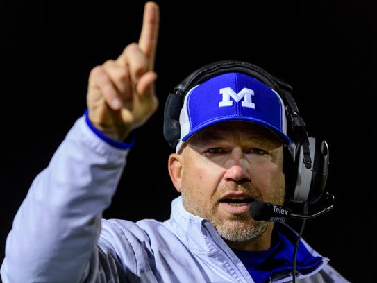 Memorial coach John Hurley, depicted on the sidelines in the Tigers' 56-35 win over Lawrenceburg in the Class 3A regional Nov. 11 at Enlow Field, hopes to guide Memorial to its first IHSAA state football title Friday.