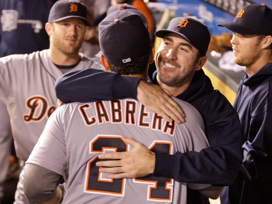 Miguel Cabrera accepts congratulations from Justin