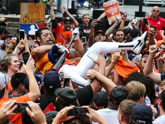 Fans celebrate during the World Series championship