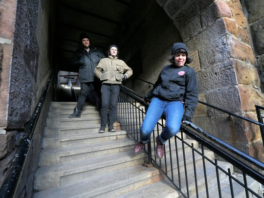 The Screaming Females participate in a photo shoot at the train station in New Brunswick, NJ Friday January 31, 2018. (L-R) Michael Abbate, Jarrett Dougherty and Marissa Paternoster.