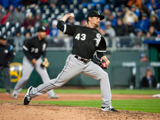 Danny Farquhar, a former UL pitcher now with the Chicago White Sox, throws last month against the Kansas City Royals.