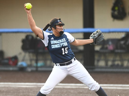 Immaculate Conception senior Caylee English fired a one-hitter and struck out 13 River Dell batters in the county tournament contest.