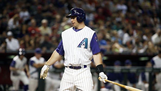 Arizona Diamondbacks Paul Goldschmidt strikes-out swinging to the San Francisco Giants in the 7th inning in Phoenix, Ariz., on Thursday, May 12, 2016.