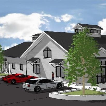 An artist rendering shows the new retail and visitor center slated to open in spring at Road America in Elkhart Lake.