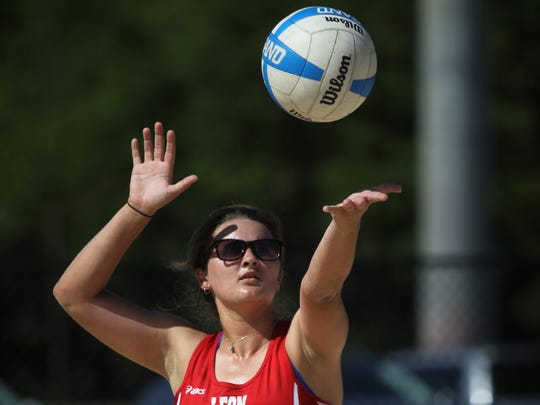 Leon's Jordyn Goracke serves at the 2018 Tallahassee high school beach volleyball city tournament at Tom Brown Park