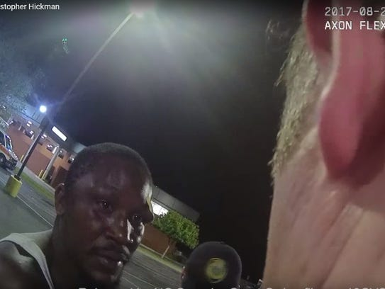 "Asheville resident Johnnie Rush tells Asheville Police Officer Chris Hickman, ""I didn't mean for this to happen,"" following an Aug. 25, 2017 incident where Rush was Tased and beaten."