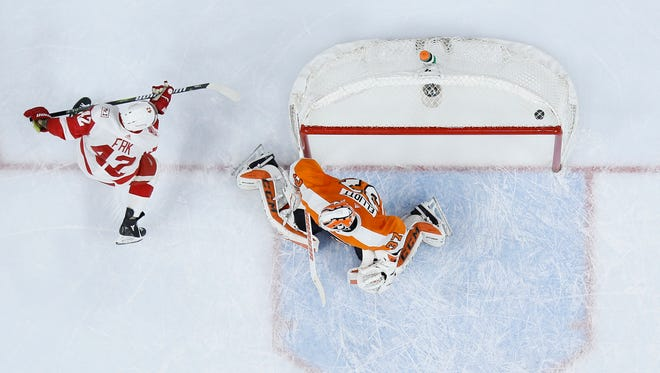 Red Wings forward Martin Frk scored in the first period against the Flyers on Wednesday, but the Wings still lost, 4-3.