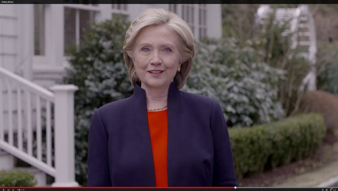 Framegrab from Hillary Clinton campaign video released on YouTube announcing her run for president on Sunday, April 12, 2015.