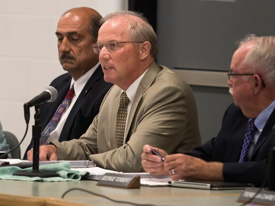 New Sussex Technical School District Superintendent Stephen Guthrie speaks during a school board meeting Monday night.