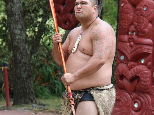 A competitor gets ready for the spear-throwing competition at the 2014 Micronesian Game.