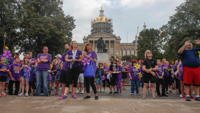 Thousands of Iowans gathered in Des Moines on Sept. 16, 2017, for the Alzheimer's Association Walk to End Alzheimer's pre-walk.