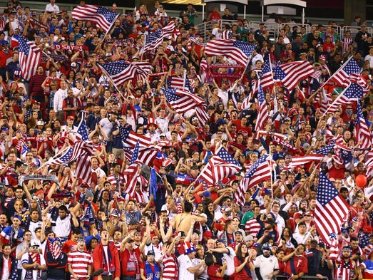 The USA fans get fired up before the Americans squared off against Mexico in an international friendly at university of Phoenix Stadium in Glendale, Ariz.