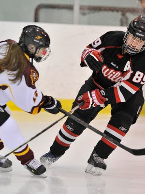 From left, Mercy's Hannah Hamilton and Walled Lake's Kayleigh Walker battle for the puck in the first period of a game last month.