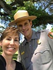 Lisa Wingate with Park Ranger Matt Housch, researching at Cane River Creole National Historical Park.