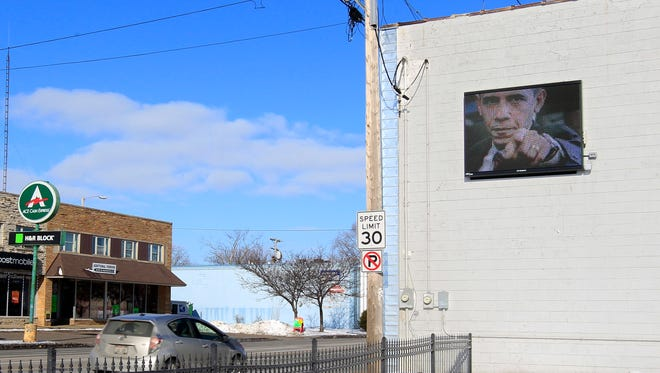 A digital sign on the side of a Richmond St. building on January 22, 2015, in Appleton, Wis. Wm.Glasheen/Post-Crescent Media