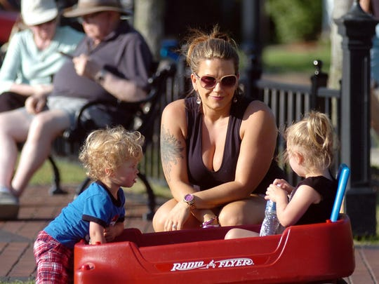 Stephanie Huhn brought her kids, Gavin and Ava, to the Riley Park concert.