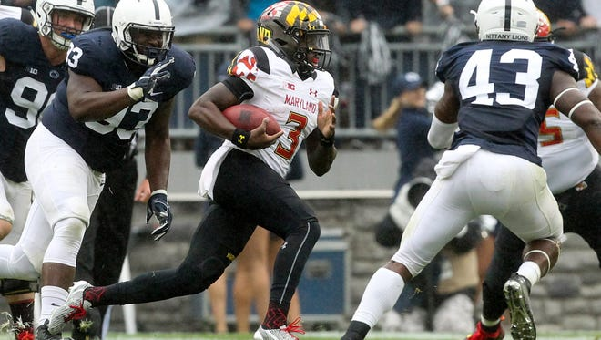 Maryland Terrapins quarterback Tyrrell Pigrome (3) runs with the ball during the fourth quarter at Penn State two weeks ago. Pigrome, an athletic true freshman, might get the call again in place of injured senior Perry Hills.
