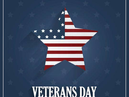 Veterans Day poster on blue background with star. Vector