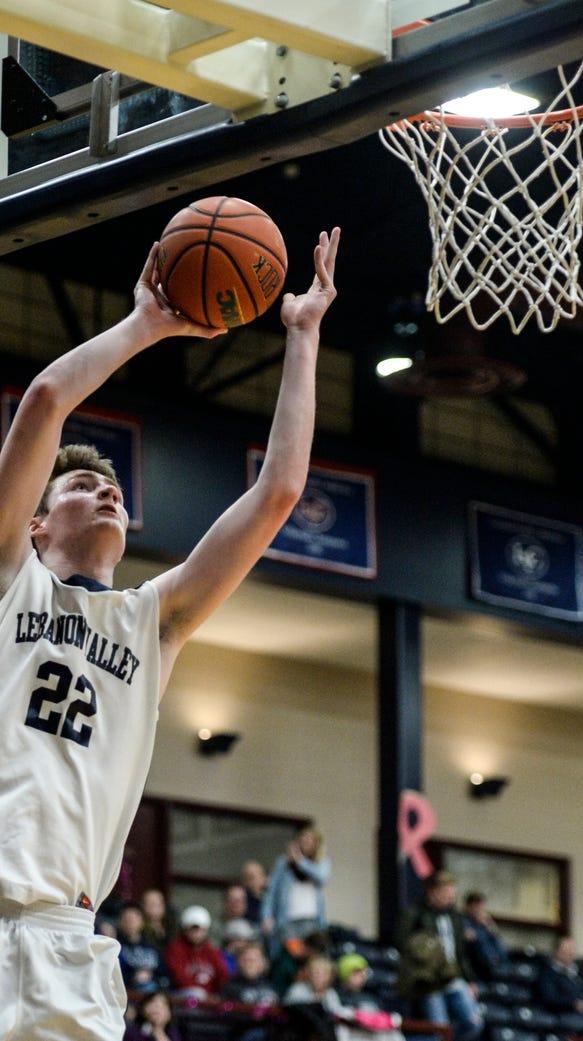 Lebanon Valley College's Andy Orr drives to the hoop