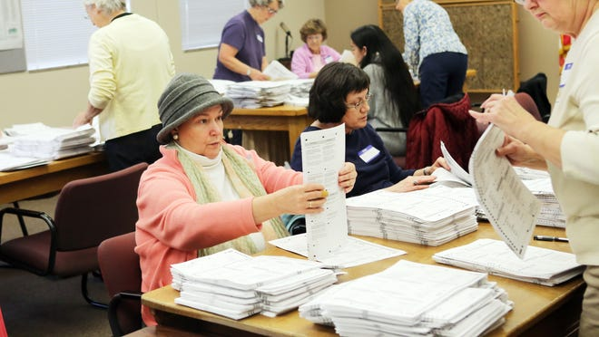 Volunteers recount ballots at Polk County Courthouse in Dallas.