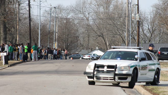 Police investigate a bomb threat at Bolivar Central High School in this Jan. 28 file photo. It was the first of three recent threats, including one today.